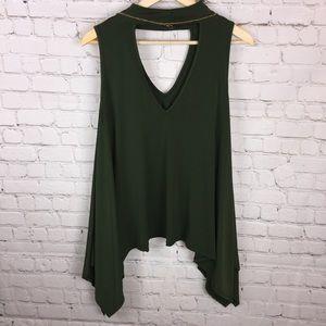 Topia Tops - Large asymmetric blouse w/ necklace NWOT